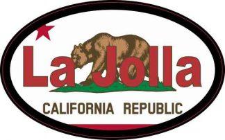 Oval Californian Flag La Jolla Sticker