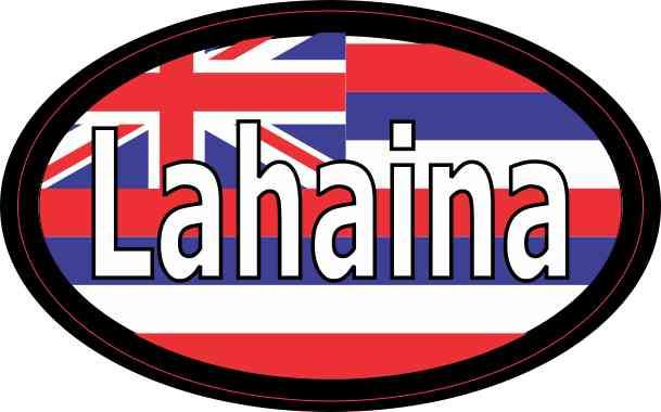Oval Hawaii Flag Lahaina Sticker