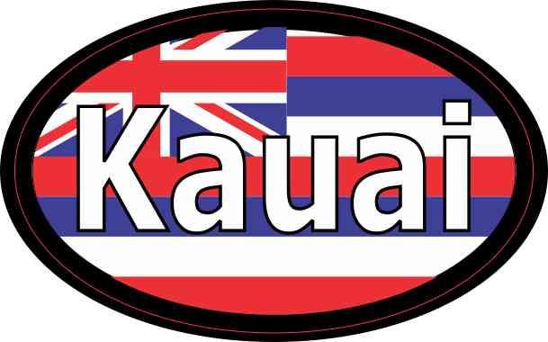 Oval Hawaii Flag Kauai Sticker