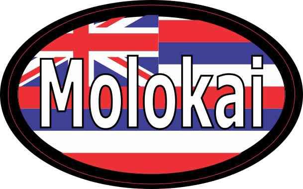 Oval Hawaii Flag Molokai Sticker