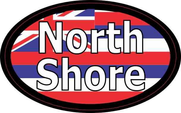 Oval Hawaii Flag North Shore Sticker