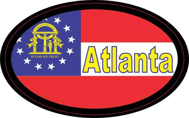 Oval Georgia Flag Atlanta Sticker