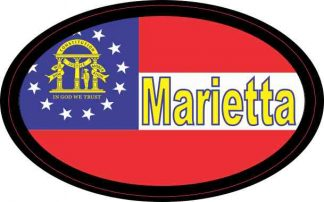 Oval Georgia Flag Marietta Sticker