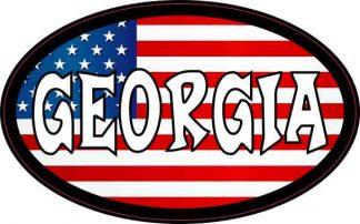 Oval American Flag Georgia Sticker