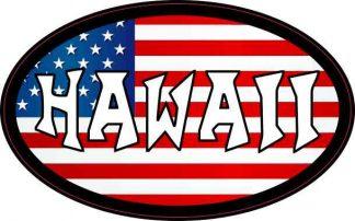 Oval American Flag Hawaii Sticker