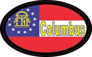 Oval Georgia Flag Columbus Sticker