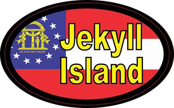 Oval Georgia Flag Jekyll Island Sticker