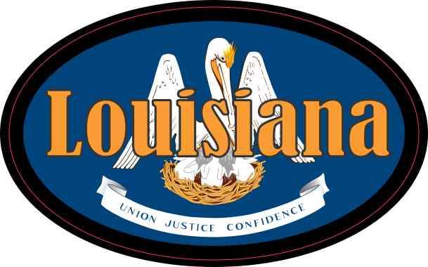 Flag Oval Louisiana Sticker