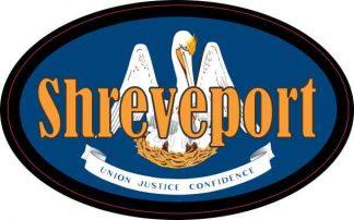 Oval Louisiana Flag Shreveport Sticker