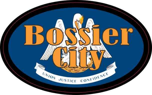 Oval Louisiana Flag Bossier City Sticker