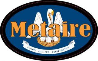 Oval Louisiana Flag Metaire Sticker