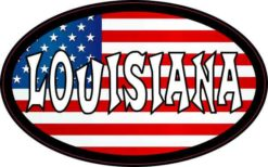 Oval American Flag Louisiana Sticker