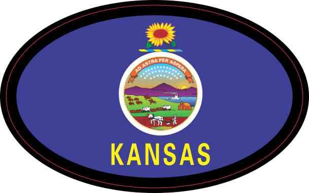 Oval Kansas Flag Sticker