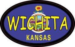 Oval Kansas Flag Wichita Sticker