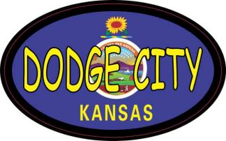 Oval Kansas Flag Dodge City Sticker