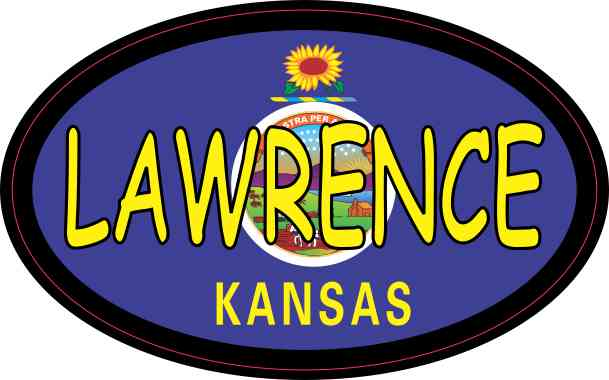 Oval Kansas Flag Lawrence Sticker