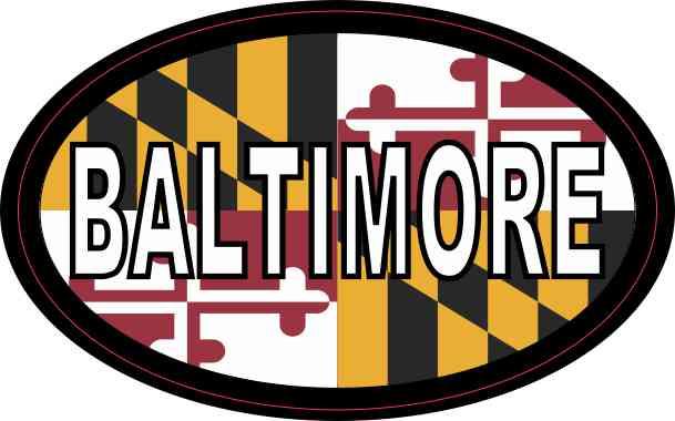 Oval Maryland Flag Baltimore Sticker