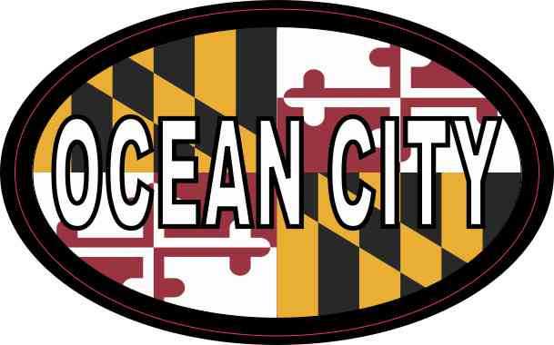 Oval Maryland Flag Ocean City Sticker