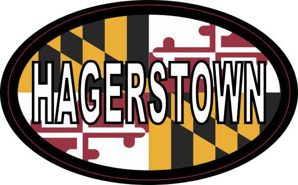 Oval Maryland Flag Hagerstown Sticker