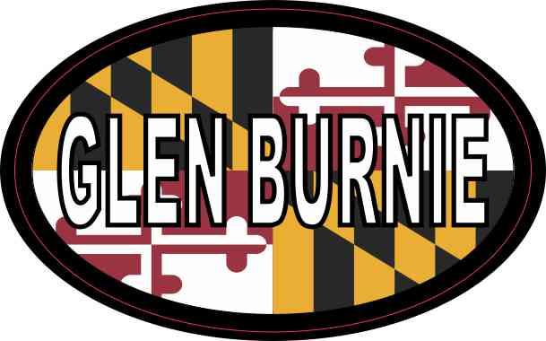 Oval Maryland Flag Glen Burnie Sticker