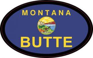 Oval Montana Flag Butte Sticker