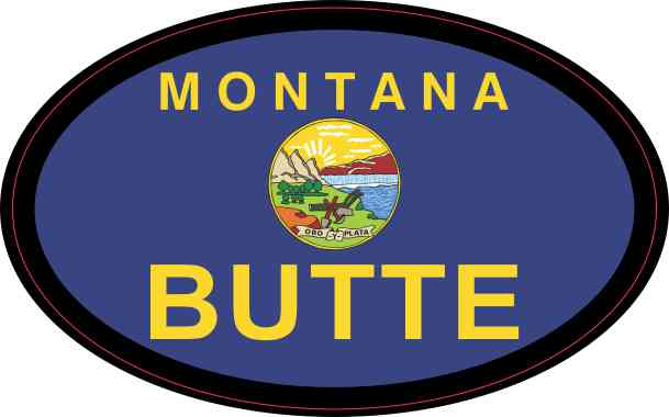 Oval Montana Flag Butte Sticker