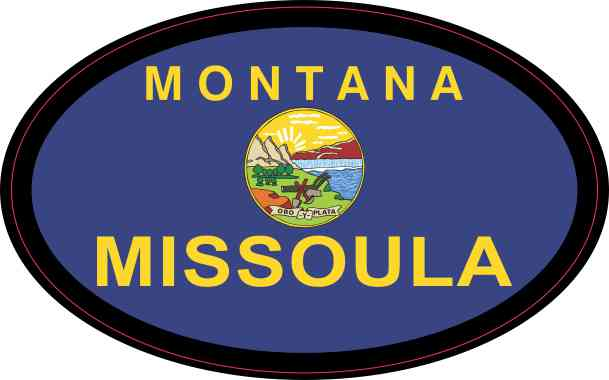 Oval Montana Flag Missoula Sticker