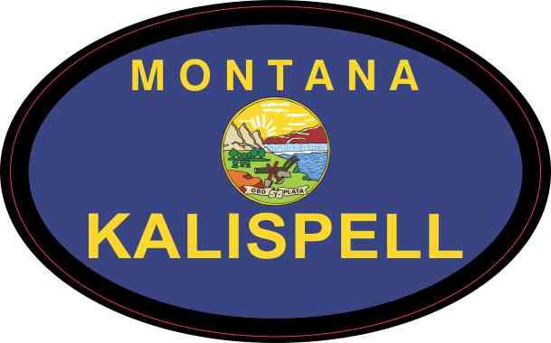 Oval Montana Flag Kalispell Sticker
