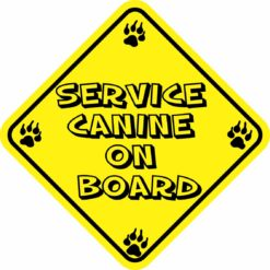 Yellow Service Canine on Board Sticker