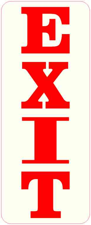 Red and Off-White Exit Magnet