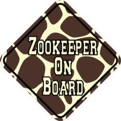 Giraffe Print Zookeeper On Board Sticker