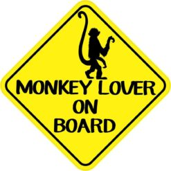 Monkey Lover on Board Sticker