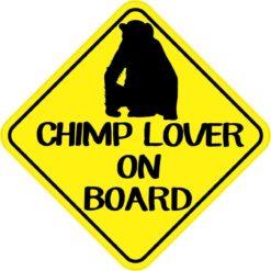 Chimp Lover On Board Sticker