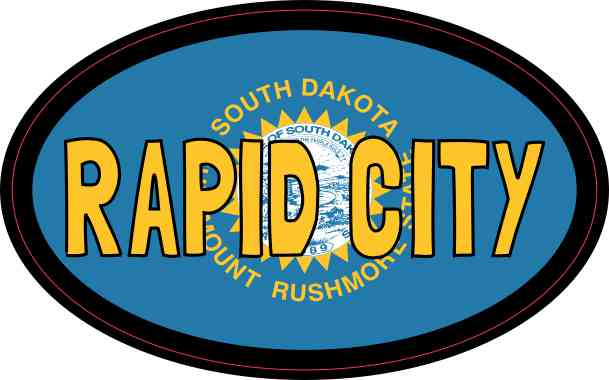 Oval South Dakota Flag Rapid City Sticker