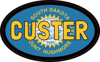 Oval South Dakota Flag Custer Sticker