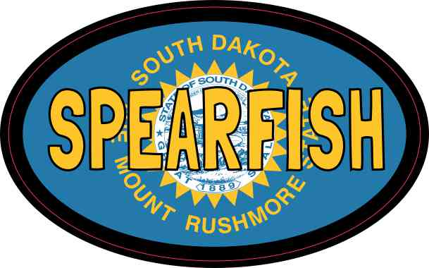 Oval South Dakota Flag Spearfish Sticker