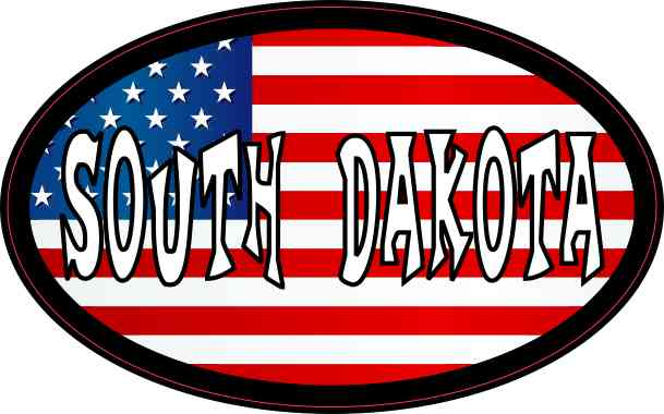Oval American Flag South Dakota Sticker