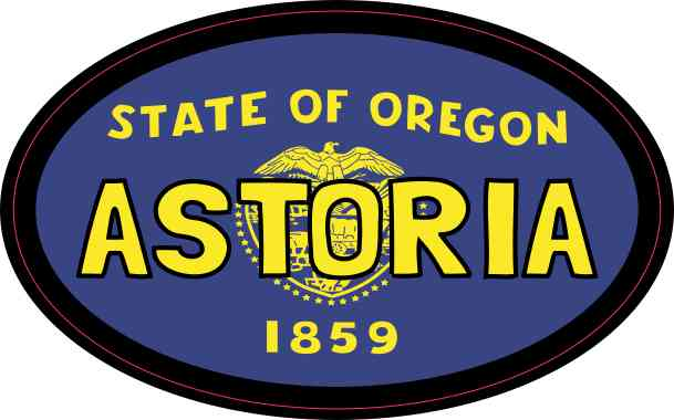 Oval Oregon Flag Astoria Sticker