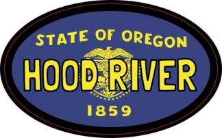 Oval Oregon Flag Hood River Sticker