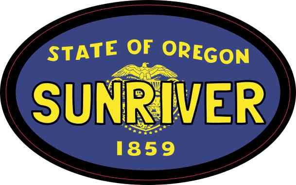 Oval Oregon Flag Sunriver Sticker