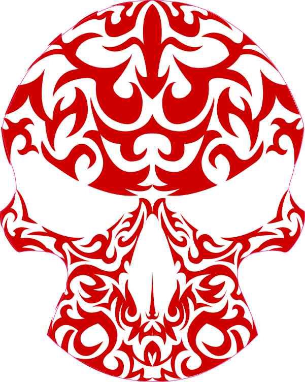 Red Tribal Skull Sticker