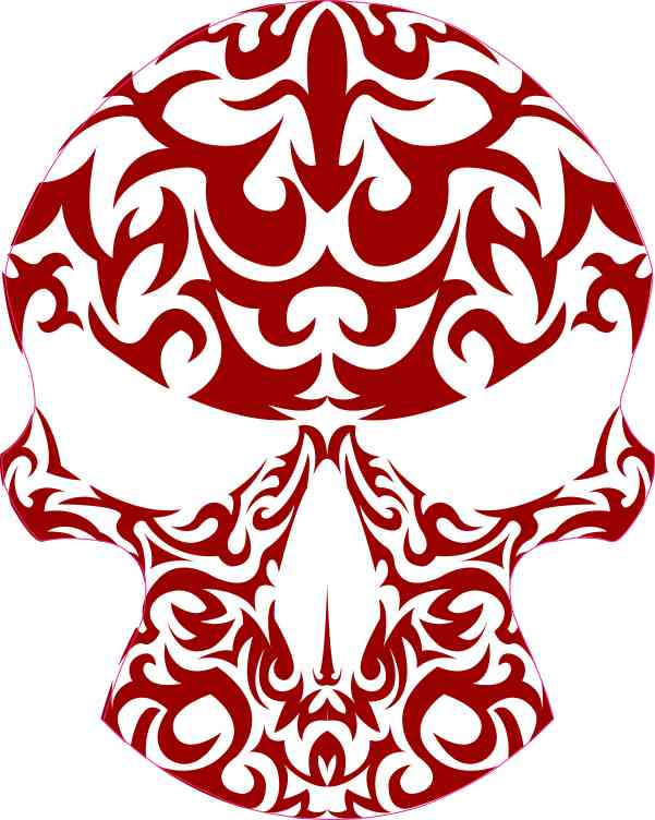 Brick Red Tribal Skull Sticker