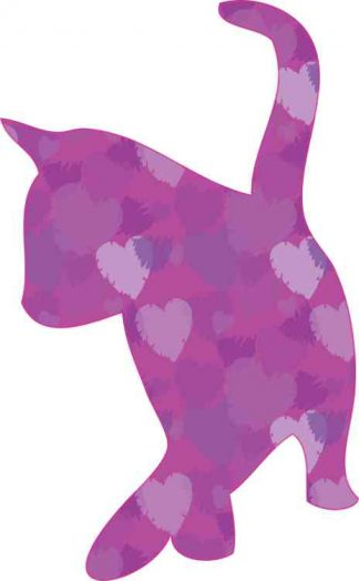 Purple Heart Cat Silhouette Sticker