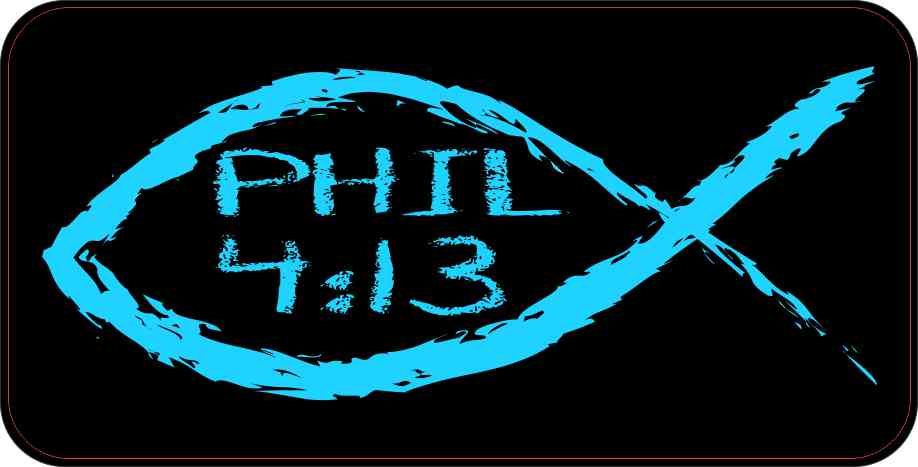 Christian Fish Philippians 4:13 Sticker