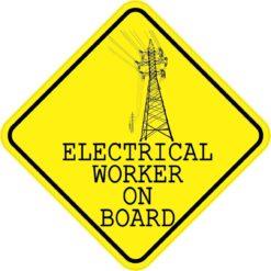 Electrical Worker On Board Sticker