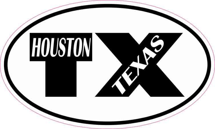 Oval TX Houston Texas Sticker