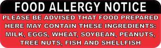 Food Allergy Notice Sticker