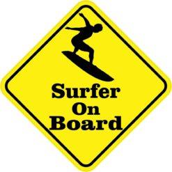Silhouette Surfer On Board Sticker