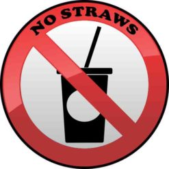 No Straws Sticker