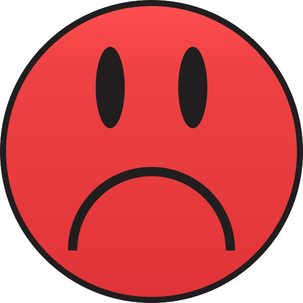 Red Sad Face Sticker